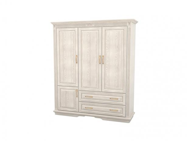 Белый шкаф из массива 3-х створчатый Палермо  с ящиками беленый дуб