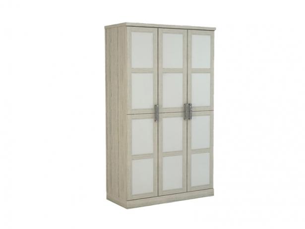 Белый шкаф распашной 3-х створчатый Парма беленый дуб