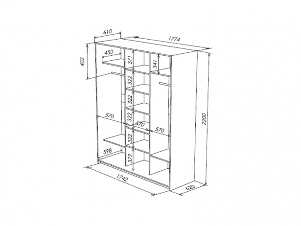 Шкаф-купе 3-х дверный Como/Veda схема