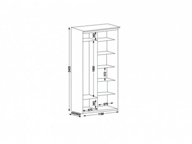Шкаф купе 2-х дверный Эконом ширина 119 см