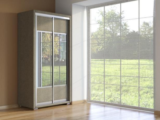 Шкаф-купе 2-х дверный зеркальный Orma Soft Ткань Глазго коричневый