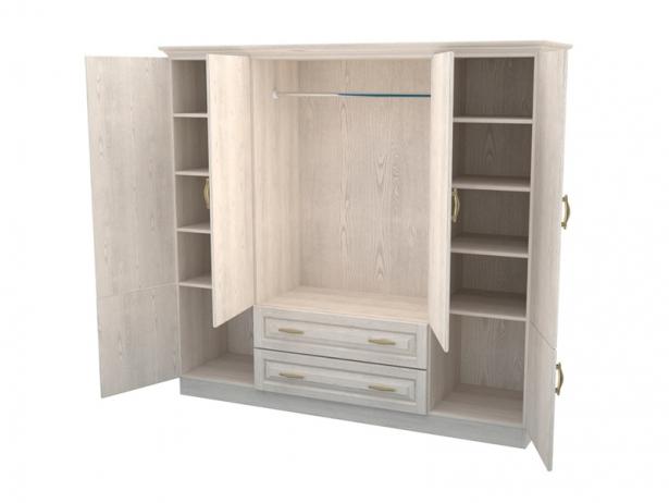 Распашной шкаф из массива 4-х створчатый с ящиками Эдем беленый дуб