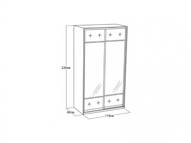 Шкаф-купе 2-х дверный Неро/Сезия