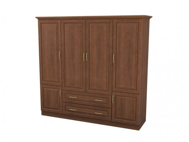 Купить шкаф распашной 4-х створчатый с ящиками Эдем орех