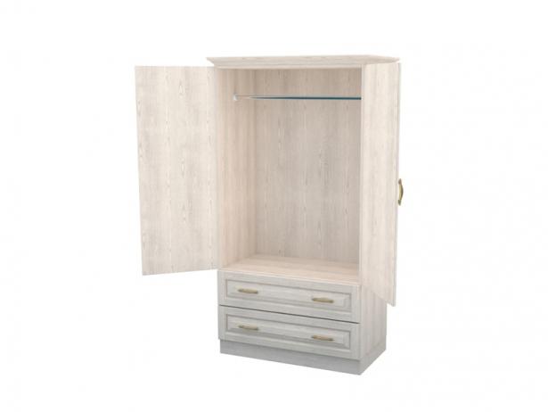 Купить шкаф распашной из массива 2-х створчатый Эдем беленый дуб