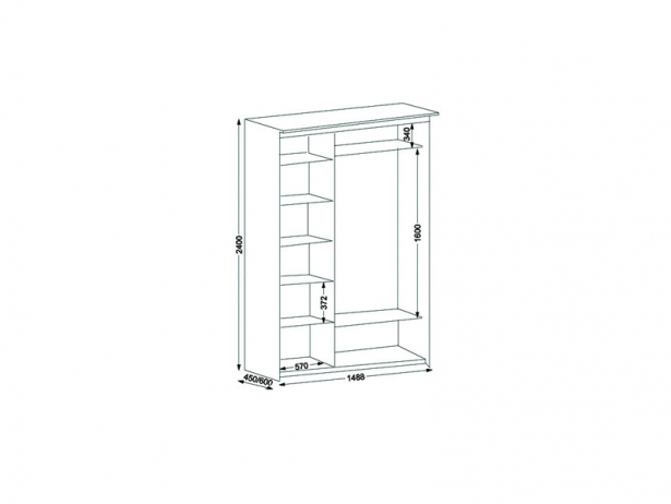 Схема шкаф-купе Эконом 3х дверный с 1 зеркальной дверью 1488