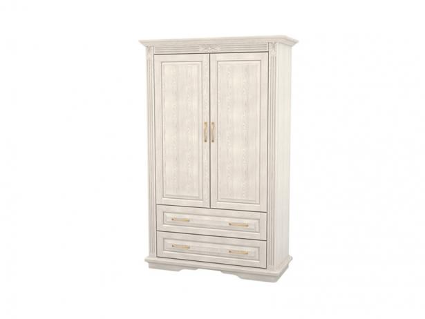Купить белый шкаф из массива 2-х створчатый Палермо  с ящиками