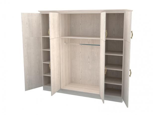 Купить белый шкаф распашной 4-х створчатый Эдем беленый дуб