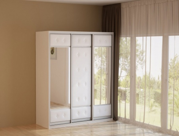 Белый шкаф-купе 3-х дверный  Неро/Сезия 2 зеркала