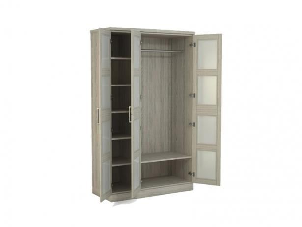 Купить распашной шкаф из массива  3-х створчатый Парма беленый дуб
